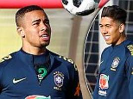brazil stars roberto firmino and gabriel jesus train in moscow