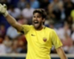 no liverpool approach for alisson - agent yet to receive offer, but coy on new roma deal
