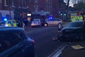 video shows aftermath of crash which caused damage to building on radford boulevard