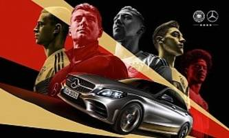 mercedes ww2 style posters to promote german football team for russia world cup