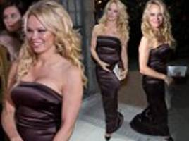 pamela anderson dons silk gown after tommy lee fight