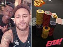 neymar enjoys a game of poker with friends (including vinicius)