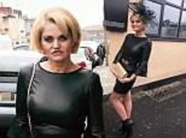 danniella westbrook heads to aintree's ladies day in a pvc mini-skirt after being released on bail
