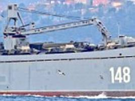 russian ships laden with tanks seen in bosphorus en route to tartus syria after us-led air strikes