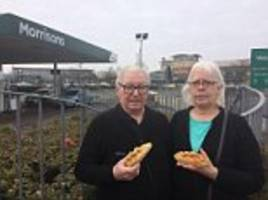 pastry-loving couple are furious after morrisons refused to sell them a meat pie before 9am