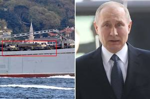 russia's response? warships loaded with tanks and military supplies spotted 'leaving turkey for syria'