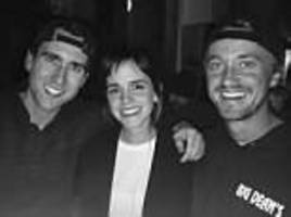 harry potter reunion: emma watson poses with fellow 'hogwarts alumni' tom felton and matthew lewis