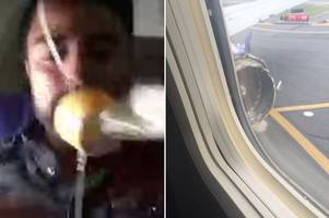 woman 'sucked out of plane window' as passengers scream after exploding engine smashes glass mid-flight