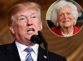 trump jokes about barbara bush's 73-year marriage