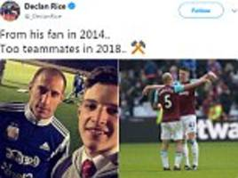 west ham's declan rice shares throwback picture with pablo zabaleta