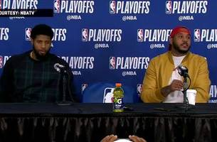 paul george and carmelo anthony press conference - game 2 | jazz at thunder