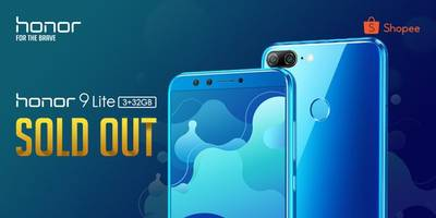 honor 9 lite sold out once again, breaking the record of shopee by selling the most units in the first minute