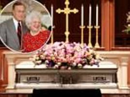 barbara bush's casket at houston church as thousands of mourners are expected at public viewing