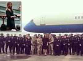 melania poses with texas law enforcement, shares touching message about barbara bush after funeral