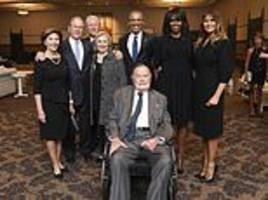 melania trump poses with four past presidents and first ladies at barbara bush's funeral