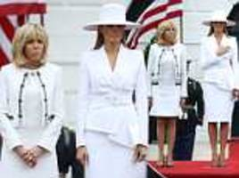 melania trump and france's brigitte macron wear matching white suits at state arrival ceremony