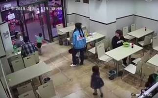 Pregnant woman trips boy and gives him a concussion (video)