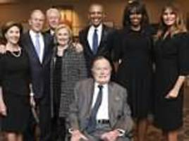 photographer snapped presidents & first ladies barbara bush's funeral talks off-camera interactions