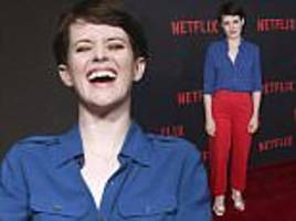 claire foy ditches her royal ballgowns as she power dresses at netflix event amid salary scandal