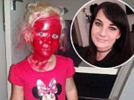 parents' horror after finding their daughter covered in red lipstick