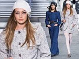 gigi hadid wows in silver tweed jacket as she joins sister bella for chanel show in paris
