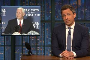 seth meyers wants to remind you that mike pence sucks just as much as trump does (video)