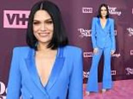 jessie j oozes style in a low-cut bright blue tailored suit