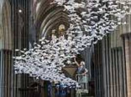 flock of 3,000 origami doves flutter into salisbury cathedral to 'bring hope' after novichock horror