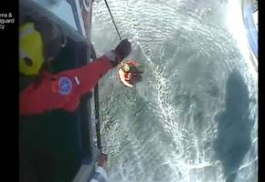 watch dramatic video of shark attack victim off cornwall being winched from fishing boat