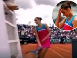 Tennis star Karolina Pliskova smashes a hole in the umpire's chair after bad call costs her a match