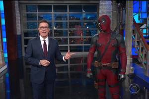 Deadpool Takes Over Colbert's Monologue to Make Trump Jokes: 'We All Know Trump Prefers His Leaks in Russian Hotel Rooms' (Video)