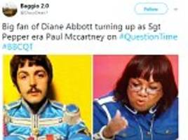Diane Abbott likened to Beatles Sergeant Pepper's Hearts Club on BBC Question Time in Kensington