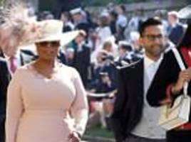 Oprah Winfrey arrives at royal wedding with a mystery man in Stella McCartney dress made overnight