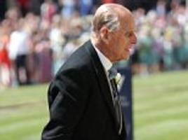 prince philip duke of edinburgh walks unaided at royal wedding weeks after hip operation