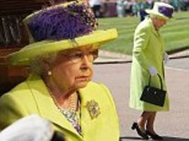 the queen shines brightly in yellow as she attends the royal wedding