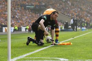 Douglas Ross MP takes a hilarious tumble during Scottish Cup Final between Celtic and Motherwell