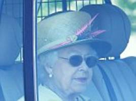 the queen leaves windsor castle for church