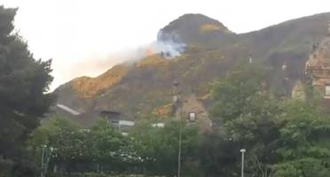 arthur's seat ablaze amid wildfire warning