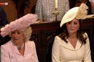 kate middleton caught giving camilla 'side-eye' glance as rev curry delivers dramatic royal wedding speech
