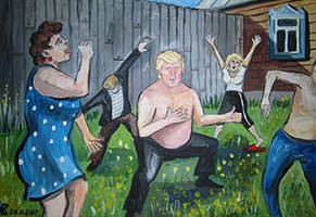 Hilarious Paintings Of President Trump Portraying Him As A Typical Russian