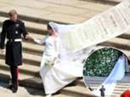 people are comparing meghan markle's  wedding veil to a cvs receipt