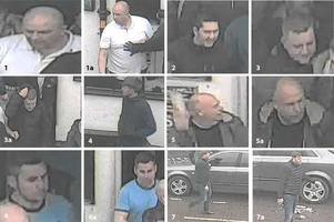 police want to speak to these men after football fight outside the neptune pub