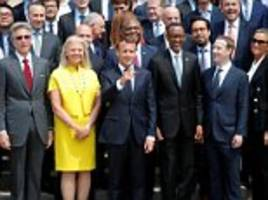 zuckerberg smiles as macron woos him day after eu politicians criticised for failing to get answers