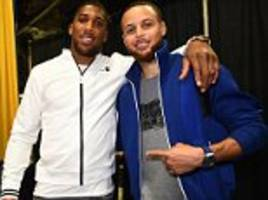 anthony joshua meets steph curry of golden state warriors
