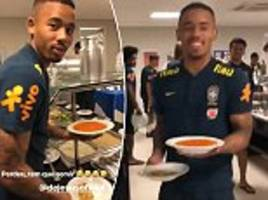 neymar is joined by  gabriel jesus to show what life is like inside brazil's canteen
