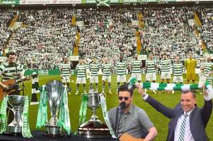 watch the celtic fan who sang twice for team during double treble celebrations