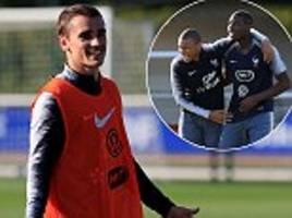 Kylian Mbappe, Paul Pogba and Antoine Griezmann all in training as France prepare for World Cup