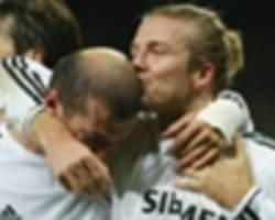 man utd and real madrid legend beckham begs zidane to beat liverpool