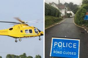 a39 traffic: reports of air ambulance at scene after police close road