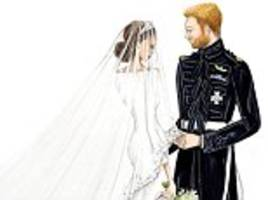 Australian artist's sketches of Harry and Meghan, the Royal Family and their wedding guests